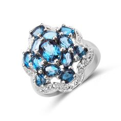 Malaika 3.77 Carat Genuine London Blue Topaz .925 Sterling Silver Ring (Size-8, Blue), Women's, Size: 8