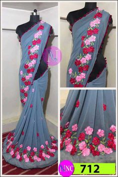 🔺Available Colours 🔺 🌺 712 🌺 ✳Material:- Georgette ✳ ✳Blouse:- Banglori silk ✳ 🌀Beautiful ribbon flower work 🌀 ❗Nice quality ❗ 🔻Ready to ship🔻