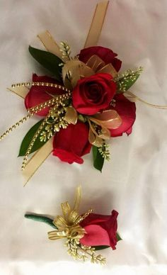 Golden Red matching corsage and boutonniere. Custom designed by Mariam's Flowers PROM corsage. Golden Red matching corsage and boutonniere. Custom designed by Mariam's Flowers Prom Corsage And Boutonniere, Bridesmaid Corsage, Corsage Wedding, Red Corsages, Gold Corsage, Flower Corsage, Wrist Corsage, Homecoming Flowers, Bridal Bouquets