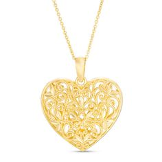 Vintage-Style Scrollwork with Leaves Heart Pendant in 14K Gold | View All Jewellery | Peoples Jewellers