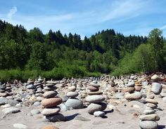 The Sandy river to Oxbow Regional Park; Oregon. Be sure to look for the rock beach where thousands of cairns have been stacked
