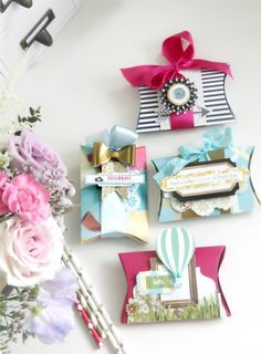 Love embellished Packaging! Here're a few using Webster's Pages + Sizzix Dies (Pillow Boxes).