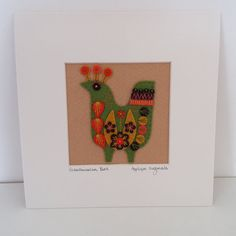 New SCANDINAVIAN BIRD hand embroidered textile by designedbyjane (Home & Living, Home Décor, picture, applique, felt, hand embroidery, folk, applique originals, frame, home, scandinavian, hand crafted, textile, bird, ART)
