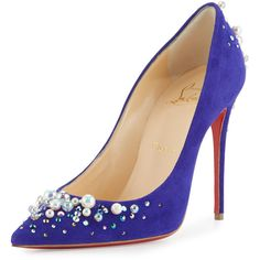 Christian Louboutin Candidate Pearly-Embellished Suede Red Sole Pump ($1,270) ❤ liked on Polyvore featuring shoes, pumps, purple, pointed toe high heel pumps, high heel pumps, pointy toe pumps, red sole pumps and suede shoes
