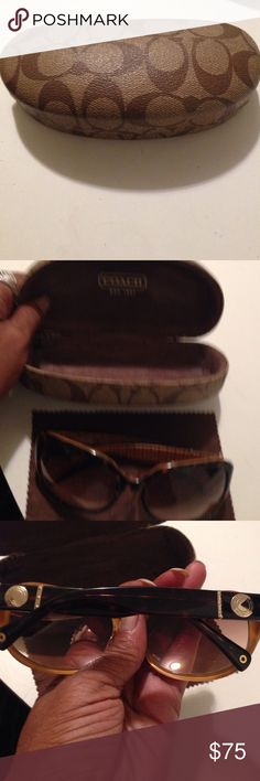 authentic sunnies Brown framed sun glasses. Gold signature hardware. Monogrammed design inside temples. Good condition & cute gear case  & wipe included Coach Accessories Glasses