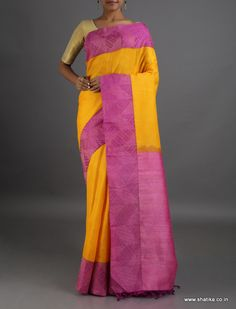 Kautuki Plain Self Patterned Border #LinenSilkSaree
