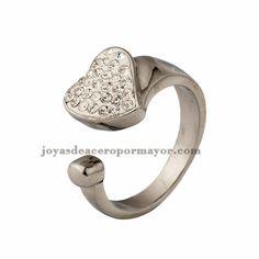 anillo forma corazon cristal en acero plateado inoxidable para mujer-SSRGG831074