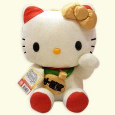 """Hello Kitty 12"""" Fortune Cat Mascot Plush Doll Maneki-neko Lucky ..."""