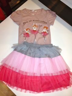 printed shirt with tiered tulle skirt