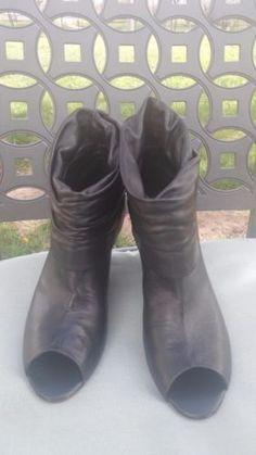 BCBG-Paris-Womens-Black-Open-Toe-Leather-Ankle-Boots-W-3-5-Wedge-Heels-9-9-5-M