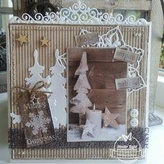 Kerstkaart in bruin/wit gemaakt door Geralien Hoftijzer