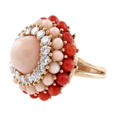 1STDIBS.COM Jewelry & Watches - Diamond Pink & Red Coral Yellow Gold Dome Ring - Fourtane