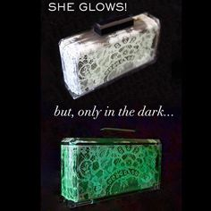 Featured as Today's Most Deluxe Item at @ahalife, the Only In The Dark glow in the dark lace painted acrylic clutch. #StefaniePhan #acrylicclutch #couture #glowinthedark #ahalife #statementbag #itbag #lace