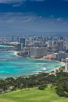 Oahu, this is what Honolulu and Waikiki looks like (great big downtown). To see the beauty of Oahu travel over to the other side of the island where it is tropical, green and lush. Honolulu City, Honolulu Hawaii, Hawaii Usa, Waikiki Beach, Aloha Hawaii, Vacation Destinations, Dream Vacations, Vacation Spots, Holiday Destinations