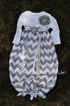 How cute it this!!!  Baby Girl Onesie Dress, Baby Girl Dress, Chevron print, Designer Sleep Gown, Layette, Baby Nightgown, Newborn Sleep Sack, Baby Girl Onesie. $28.00, via Etsy. by clarissa