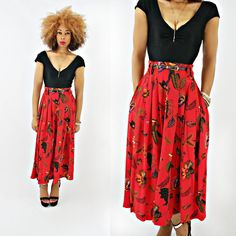 vintage 80s red SILK FLORAL midi full swing skirt size S M by PasseNouveauVintage, $28.00