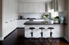 thick black countertops, gorgeous pantry doors