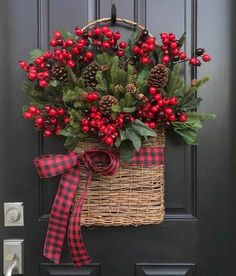 Christmas Wreaths NEW Holiday Wreaths and Baskets, Holiday Decor with Buffalo Pattern Ribbon NEW 2018 Christmas Wreaths Holiday Decor Christmas Berry Christmas Arrangements, Christmas Centerpieces, Outdoor Christmas Decorations, Noel Christmas, Christmas Projects, Christmas Ornaments, Christmas Movies, Christmas Berries, Christmas Swags