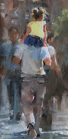 On Dad's Shoulders by Mark Lague Oil ~ 12 x 6