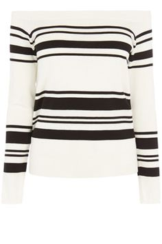 This off the shoulder jumper is constructed from a soft knitted fabric and features long sleeves, fitted cut and bold stripe design. Height of model shown: 5ft 10 inches/178cm. Model wears: UK size 10.Fabric:Main: 79.0% Viscose