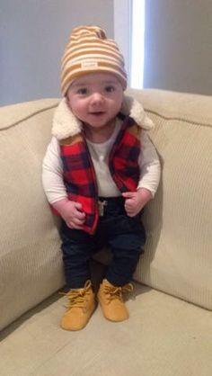 Noah! #Babyboy #winteroutfit  #Woodchopper #BabyTimberland #babyboots