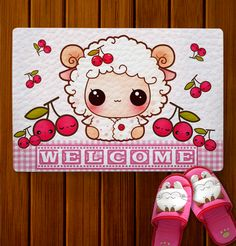 Kawaii sheep - Doormat - DM3   ChibiBunny - Home & Garden on ArtFire
