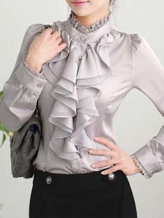 New Grey Patchwork Lace Buttons Ruffle Band Collar Casual Chiffon Blouse Blouse Styles, Blouse Designs, Hijab Styles, Ruffle Collar Blouse, Girl Fashion, Fashion Dresses, Iranian Women Fashion, Sleeves Designs For Dresses, Lace Button