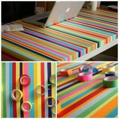 awesome idea for refinishing a table for kids room...multi colored tape!