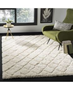 Safavieh Adriana Shag Daisie Shag Trellis Polyester Rug x - Creme/Creme), Ivory Room Furnishing, White Rug, Polyester Rugs, Easy Care Rug, Rugs, Plush Area Rugs, Rugs In Living Room, Home Decor, Room