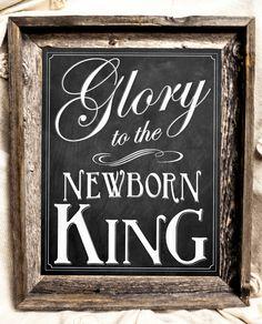 Christmas Chalkboard Sign-  Born is the Newborn King - Christmas Decor - Rustic Decor