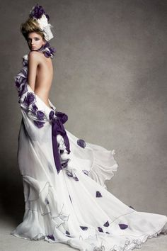 Lily Donaldson in Stefano Pilati for Yves Saint Laurent's silk organza dress. December, 2006.