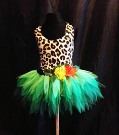 Childrens Katy Perry Roar Costume Jungle Tutu Green Forest Fairy Tutu Spikey Leaves Kids Tutu