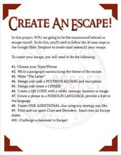 Escape Room – Students Create Their Own – Game Room İdeas 2020 Escape Room Design, Design Your Own Room, Escape Room Diy, Escape Room For Kids, Escape Room Puzzles, Escape Room Themes, Team Building Activities, Activities For Kids, Spring Activities