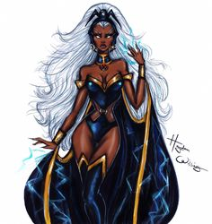 """Hayden Williams - """"You stood no chance against the elements"""". ⚡️🌪💨🌩💦 Swipe to see some of the creative process of this illustration. Black Love Art, Black Girl Art, Black Girl Magic, Art Girl, Storm Xmen, Storm Marvel, Fashion Illustration Dresses, Fashion Sketches, Fashion Illustrations"""