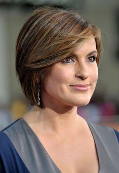 Short, side-swept, chin-length Hair. Mariska Hargitay  @Natalie Nobles