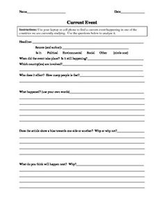 A Worksheet For 6th 9th Grade That Facilitates Theysis Of A Current Event From