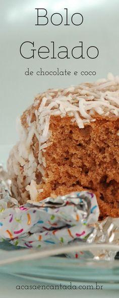 Receita de bolo gelado de chocolate e coco em 2 versões - bolo gelado embrulhado ou em copinho