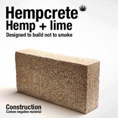 Hempcrete. Hemp plus lime, carbon negative material.