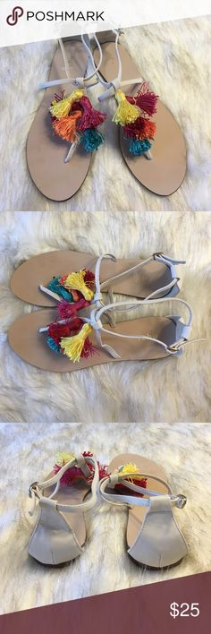 NWOT Tassel Sandals Adorable tassel sandals, perfect for spring. New without tags, perfect condition. Schu Shoes Sandals