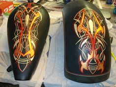 JB Grafix Custom Painting Inc - Pinstriping - Black Bike w/ Pinstripe Gold Leaf