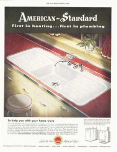 American Standard Sink Fixture (1949) love the sink, love the metal edging