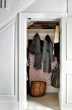VERANDA editor in chief Dara Caponigro chose Vivienne Westwood for Cole & Son wallcovering for her hall closet, image via WSJ
