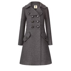 Orla Kiely: Classic double breasted trenchcoat in heavy wool fabric in Grey Melange colour. This flattering coat is fitted on bodice and has flared skirt section. Oversize rever collar with button down feature. Functioning buttondown pockets on front. Fully lined in Orla Kiely stem jacquard design. Vent in centre back.    Length: 36.8in