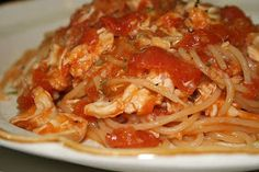 A fresh homemade tomato sauce and a whole cooked hen make for one of my favorite spaghetti dishes in memory of my grandma.  Grandma Mac's ...