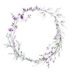 Bracelet vine but using blues instead of purple - Tattowierung Flower Frame, Flower Art, Watercolor Flowers, Floral Watercolor, Purple Wildflowers, Plant Drawing, Motif Floral, Instagram Highlight Icons, Flower Wallpaper