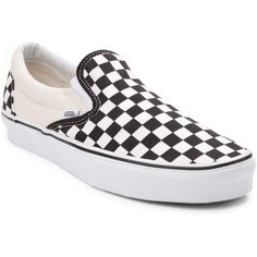 Vans Slip-On Chex Skate Shoe ($99) ❤ liked on Polyvore featuring shoes, sneakers, pull on sneakers, rubber slip on shoes, skate shoes, sport sneakers and slip-on shoes