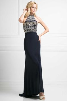 Elegant Evening Gown CD972. Full Length, Sheath Shape Evening Gown with Egyptian Halter-Top, Beautiful Designed Beadwork Embellished Bodice with Cuout Back and Invisible Zipper Closure, Solid Color Skirt with Train Detail.