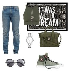 """""""It was all a dream"""" by abecic ❤ liked on Polyvore featuring Oliver Gal Artist Co., Converse, Onzie, 3.1 Phillip Lim, Marc by Marc Jacobs and Wood Wood"""