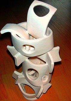 abstract pottery | abstract sculpture stacked rings and holes abstract curves fired clay ...