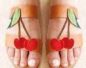 Summer red cherry-Handmade leather sandals